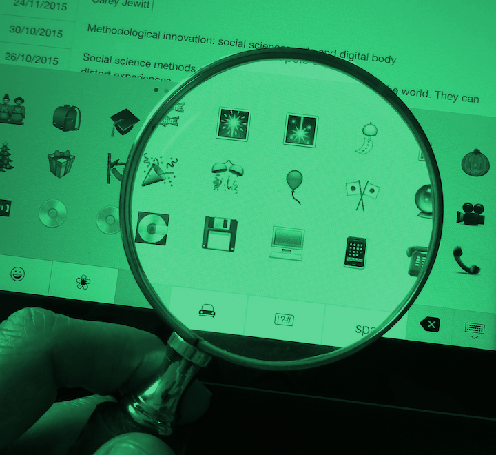 Magnifying glass over an ipad screen